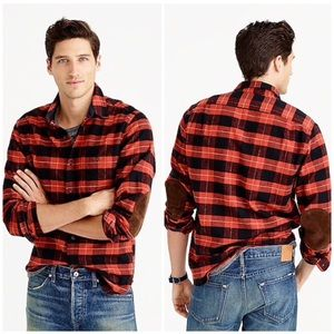 J Crew Cotton-wool elbow-patch shirt in plaid M
